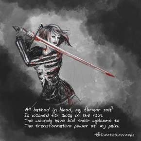 Bathed in Blood  – Nano HorrorHaikuesday