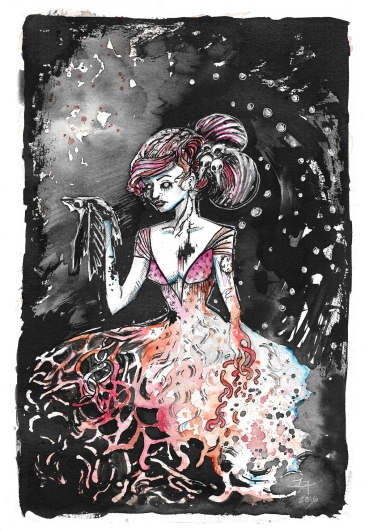 ink and watercolor horror painting, worms, and decay