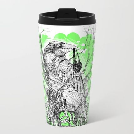 our-green-raven-heart-metal-travel-mugs
