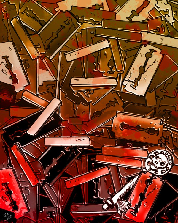A thick cascade of illustrated razors in rusty browns and splashes of red. At the bottom right corner is a white key with a skull on the handle grinning  out at the viewer.